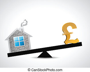 pound real estate balance industry illustration design over...