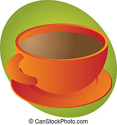 Cup of Coffee - Cup of coffee in round orange cup