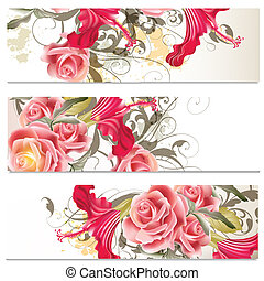 Business cards set in floral style - Set of floral brochures...