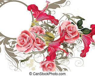 Fashion vector pattern with flower - Vector cute pink roses...