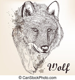 Hand drawn portrait of wolf - Vector illustration with hand...