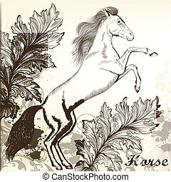 Hand drawn vector horse in vintage
