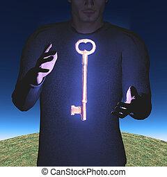 Man with large skeleton key