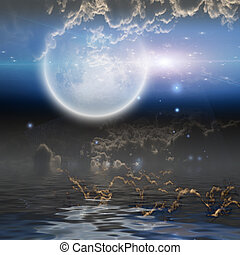 Moonrise over water with clouds