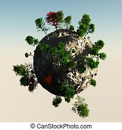 Small Planet with trees