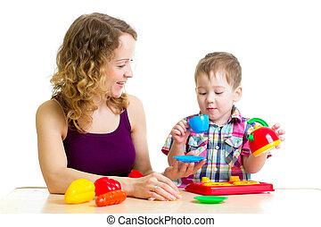 男孩, 孩子, 玩, 一起, 母親