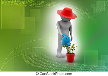 3d man watering the plant