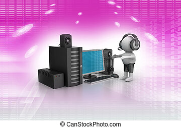 3D Man listening music with music system