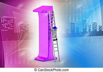 3d man climbing the high position