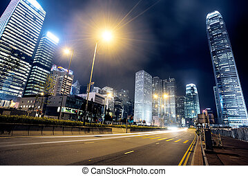 hong kong - traffic in Hong Kong at night