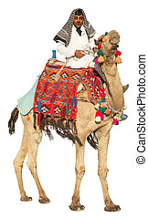 Bedouin on camel isolated on white