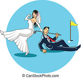Get married to Golfer - Funny illustration of a woman...