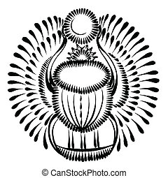 decorative silhouette scarab beetle egypt - vector,...