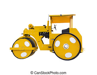 Ancient road roller isolated on white background with...