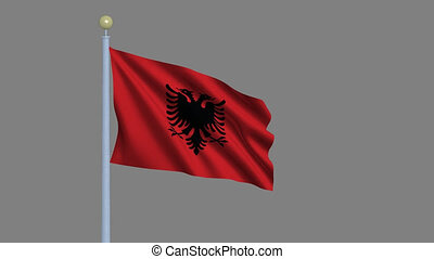 Flag of Albania waving in the wind with flagpole -with alpha...