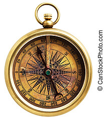 Vintage compass isolated on white background
