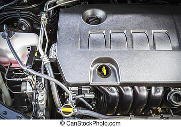 Car engine - Closeup compartment of car engine under hood