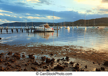 Boat moorings in the afternoon sun - Boat moorings in the...