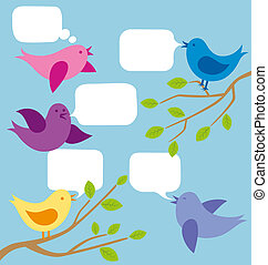 Vector Card With Birds - Vector card with birds and speech...