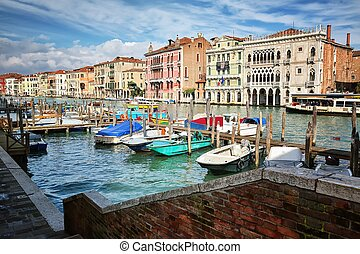 Typical view of the Canal Grande Canale in Venice, Italy -...
