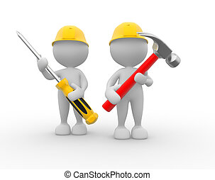 Hammer and screwdriver - 3d people - men, person with the...
