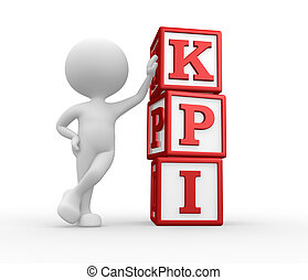 KPI key performance indicator - 3d people - man, person with...