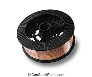 Isolated spool on a white background - Copper wire on spool,...