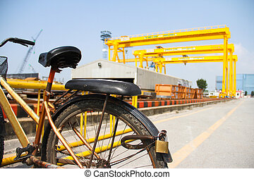 bike and crane - Atmosphere in the construction and...