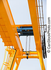 hoist on the crane - Atmosphere in the construction and...