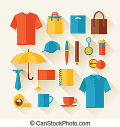 Icon set of promotional gifts and souvenirs