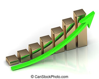Business graph from golden columns and green arrow on white...