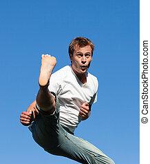 Man doing a Karate Kick