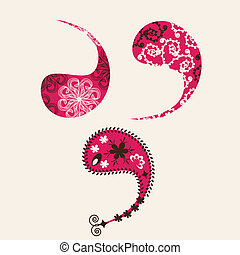 Three Paisley elements for design glassware, textiles, printing and other purposes, vector