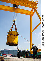 heavy lifting. - Atmosphere in the construction and...