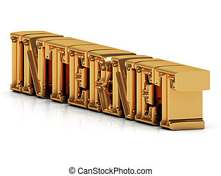 INTERNET - 3d inscription large golden letter on white...