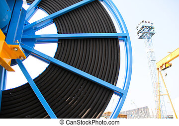 cable reel foreground - Atmosphere in the construction and...