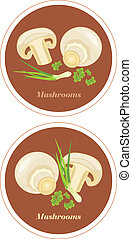 Mushrooms with parsley and chives. Icons for menu design....