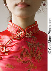 Chinese cheongsam costume - Abstract Chinese cheongsam...