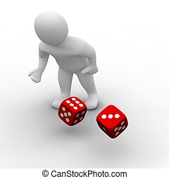 Man throwing red dices. 3d rendered illustration.