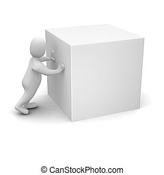 Man pushing blank cube 3d rendered illustration