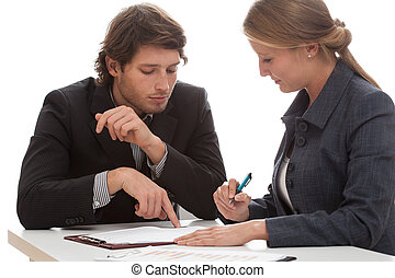 Business conversation - Businesswoman consulting agreement...