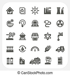 Energy and Power icons set, EPS10, Dont use transparency