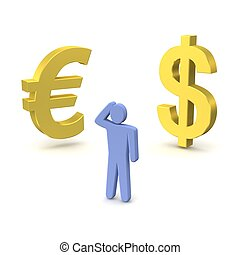 Dollar and euro - Golden dollar, euro and thinking person 3d...