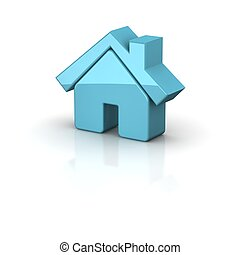 Shiny house icon. 3d rendered illustration.