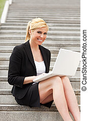 businesswoman using computer laptop