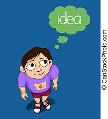 boy thinking idea with bubble speech - boy thinking by...