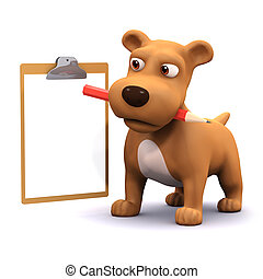 3d Puppy list - 3d render of a dog with pencil and clipboard