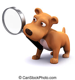 3d Puppy searches - 3d render of a dog holding a magnifying...
