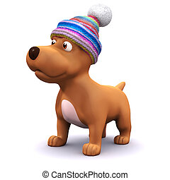 3d Warm puppy - 3d render of a dog wearing a woolen hat