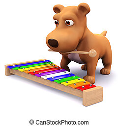 3d Puppy music - 3d render of a dog playing a keyboard
